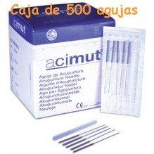 Agujas de acupuntura Marca ACIMUT 0,30x40mm /caja de 500 agujas